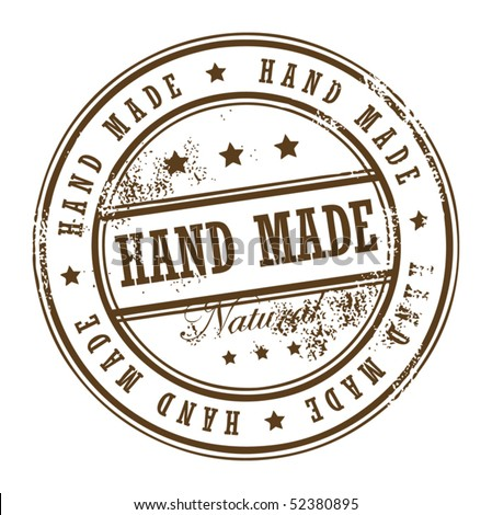 Grunge rubber stamp with small stars and the word Hand Made inside, vector illustration