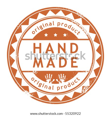 Grunge rubber stamp with small stars and the word Hand Made, Original product inside, vector illustration