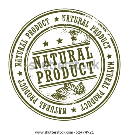 Grunge rubber stamp with small stars and the word Natural Product inside, vector illustration