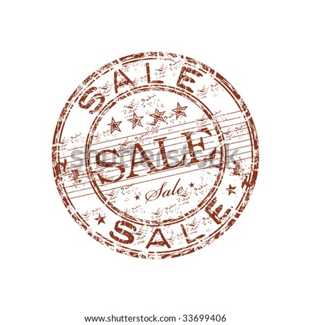 Grunge rubber stamp with small stars and the word sale written inside the stamp - stock vector