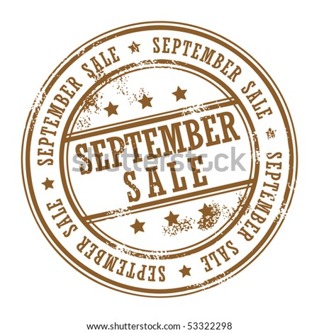 Grunge rubber stamp with small stars and the word September Sale inside, vector illustration