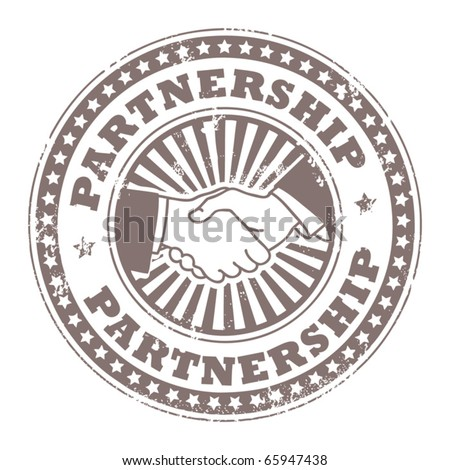Grunge rubber stamp with small stars, hands and the word Partnership inside, vector illustration
