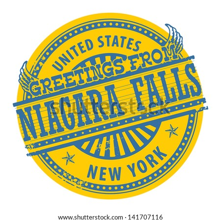 Grunge rubber stamp with text Greetings from Niagara Falls, New York, vector illustration