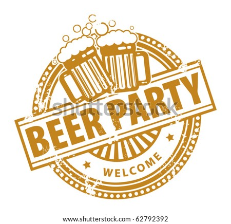 Grunge rubber stamp, with the Beer Mugs and text Beer Party written inside, vector illustration