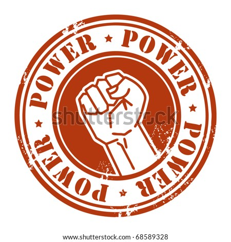 Grunge rubber stamp with the fist and word Power written inside, vector illustration