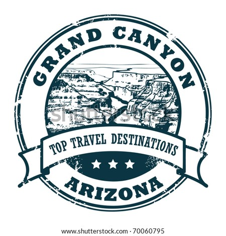 Grunge rubber stamp with the Grand Canyon, vector illustration