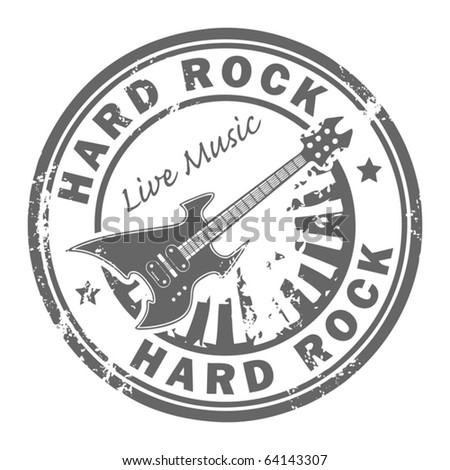 Grunge rubber stamp with the guitar and the words Hard Rock written inside the stamp, vector illustration