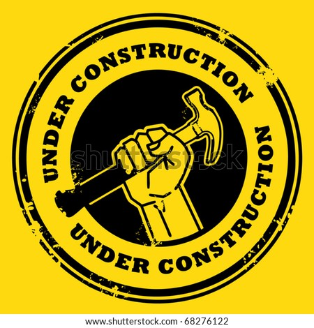 Grunge rubber stamp with the hand holding a hammer and the words under construction written inside, vector illustration