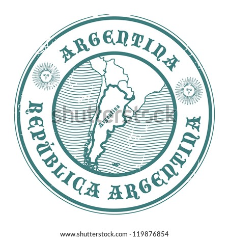 Grunge rubber stamp with the name and map of Argentina, vector illustration - stock vector
