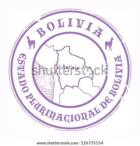 Grunge rubber stamp with the name and map of Bolivia, vector illustration