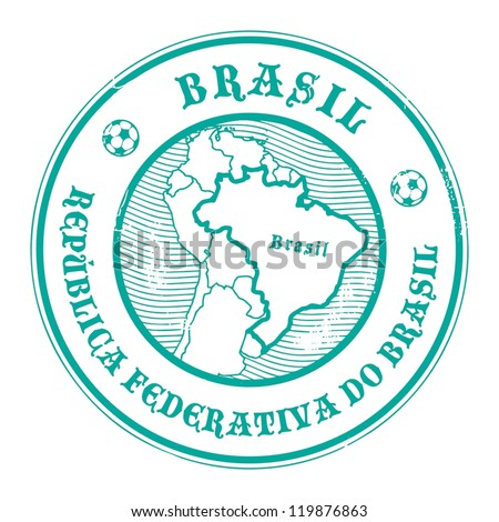 Grunge rubber stamp with the name and map of Brazil, vector illustration
