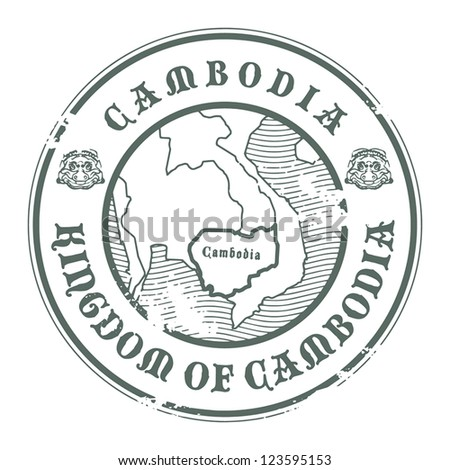Grunge rubber stamp with the name and map of Cambodia, vector illustration