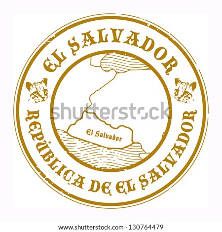 Grunge rubber stamp with the name and map of El Salvador, vector illustration
