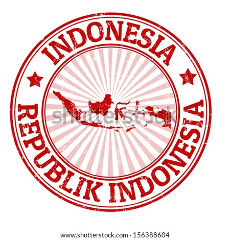Grunge rubber stamp with the name and map of Indonesia vector illustration
