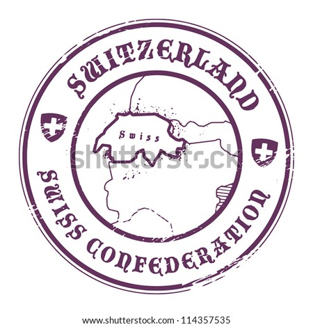 Grunge rubber stamp with the name and map of Switzerland, vector illustration