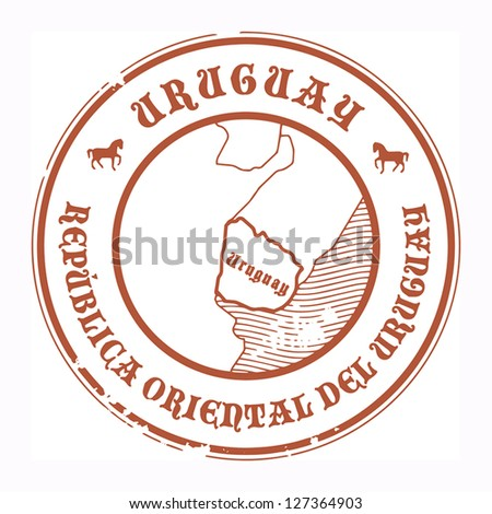 Grunge rubber stamp with the name and map of Uruguay, vector illustration
