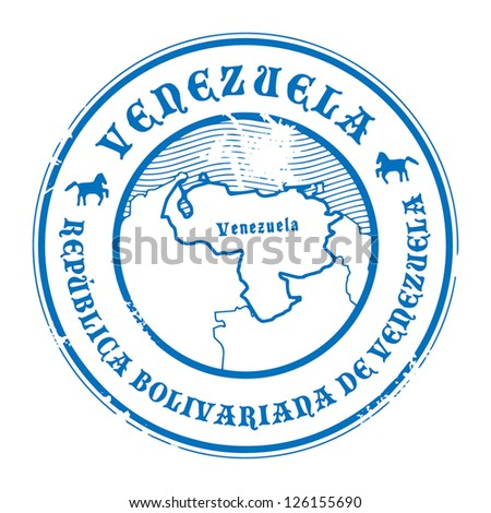 Grunge rubber stamp with the name and map of Venezuela, vector illustration