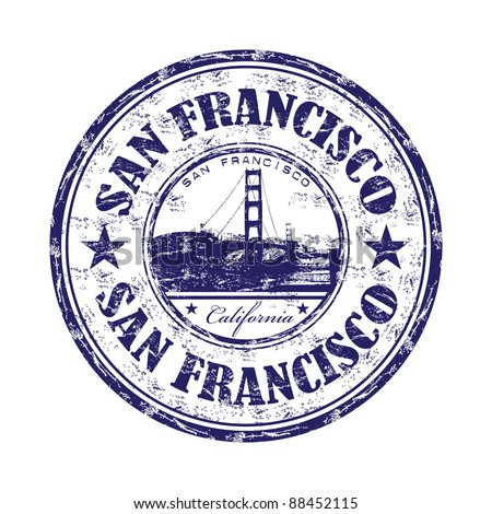 Grunge rubber stamp with the name of the city of San Francisco written inside the stamp