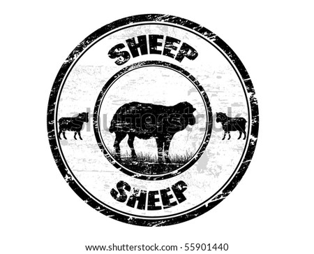 Grunge rubber stamp with the sheep shape and the text sheep written inside the stamp