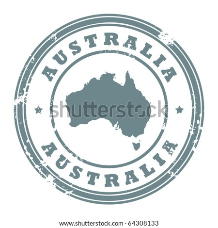 Grunge rubber stamp with the text Australia written inside the stamp, vector illustration