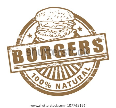 Grunge rubber stamp, with the text burgers written inside, vector illustration