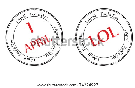 Grunge rubber stamp with the text Fool's Day - 1 April written inside, vector illustration