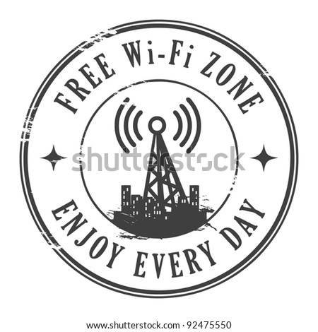 Grunge rubber stamp with the text Free wifi zone written inside, vector illustration