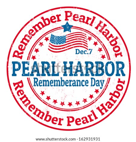 Grunge rubber stamp with the text Pearl Harbor Remembrance Day written inside, vector illustration
