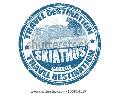 Grunge rubber stamp with the text travel destination Skiathos inside, vector illustration