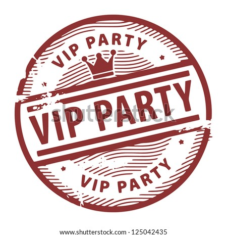Grunge rubber stamp with the text Vip Party written inside the stamp, vector illustration