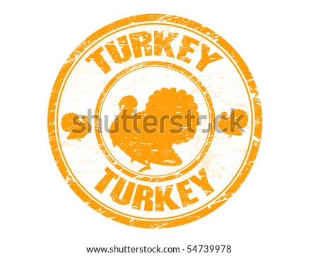 Grunge rubber stamp with the turkey shape and the text turkey written inside the stamp