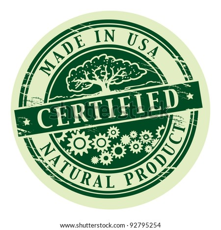 Grunge rubber stamp with the words Natural Product, Certified inside, vector illustration