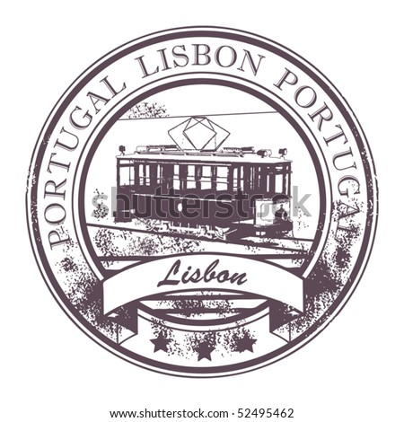 Grunge rubber stamp with Tram and the word Lisbon, Portugal inside, vector illustration