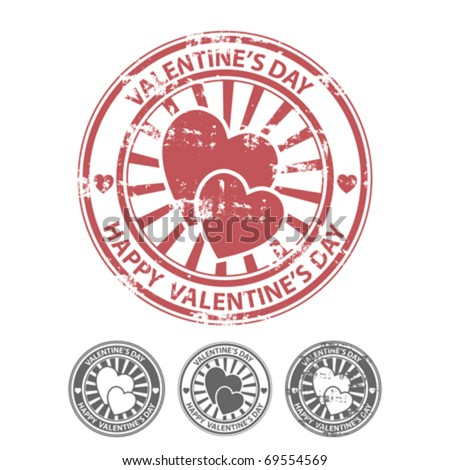 Grunge rubber stamp with two hearts, and other variants of the same stamp. Vector illustrator