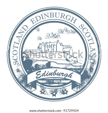 Grunge rubber stamp with words Edinburgh, Scotland inside, vector illustration
