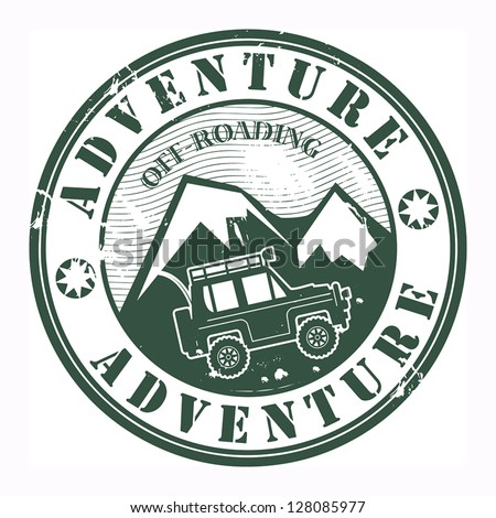 Grunge rubber stamp with words offroad adventure, vector illustration
