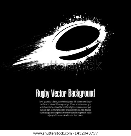 Grunge rugby background. Abstract rugby ball made from blots. Rugby design pattern. Vector illustration
