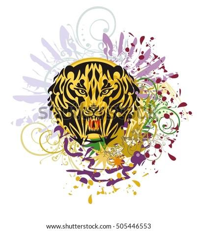 grunge saber toothed tiger head
