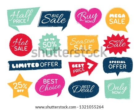 Grunge sale badge. Retro pricing sticker, grungy textured price tag and vintage best offer label badges. Advertise quality labels, sale shop stamp isolated vector symbols set