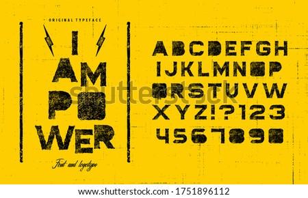 Grunge scratch type font, vintage typography. Punk style textured font and alphabet. Zdjęcia stock ©