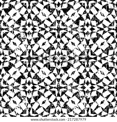 Grunge seamless geometric pattern in modern hipster style with small triangles and abstract stars in black and white. Vector background with used old scratched texture.