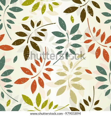Grunge seamless pattern of colored leaves. EPS 8 vector illustration