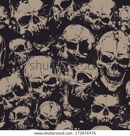Grunge seamless pattern with skulls. Vector illustration.