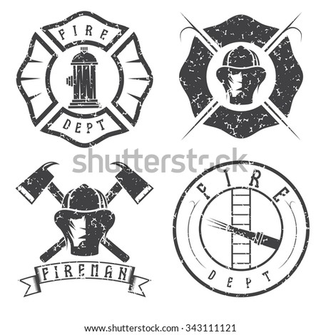 grunge set of fire department...