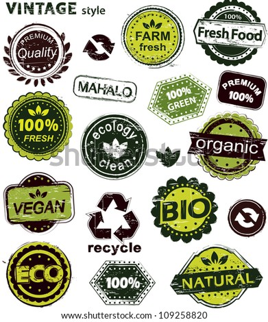 Grunge set of organic labels