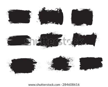 Grunge shapes, set, black isolated on white background, vector illustration.