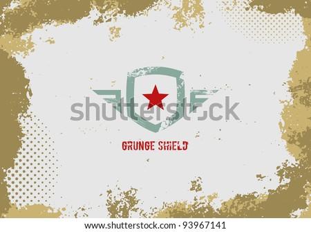 Grunge shield design element on grunge background. - stock vector