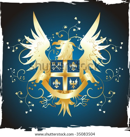golden eagle logo. shield with golden eagle
