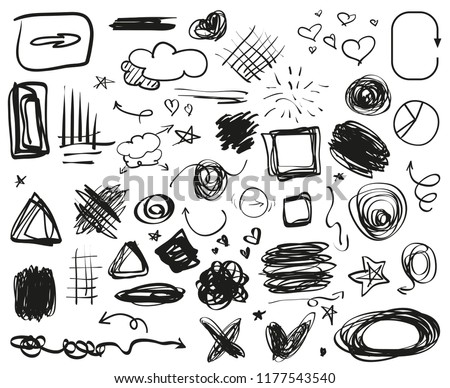 Grunge signs. Infographic elements on isolated background. Big set on white. Hand drawn simple symbols. Doodles for design. Line art. Abstract arrows, circles, squares and rectangle frames