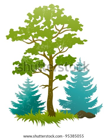 grunge silhouettes of forest tree and firtrees vector illustration isolated on white background EPS10. Transparent objects used for shadows and lights drawing